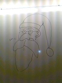 God Jul från elev på whiteboardtavlan