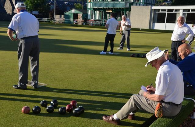 Galashiels long bowling club with old gentlemen