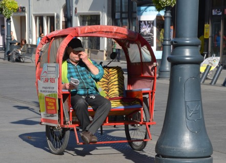 The rickshaws are colourful and frequently used