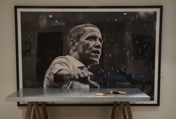 "One of my favorites:""Obama in the Rain"", by Brooks Kraft"