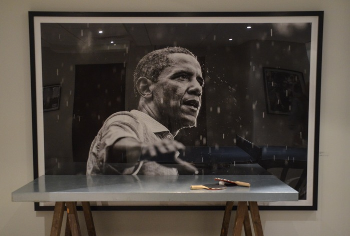 """One of my favorites:""""Obama in the Rain"""", by Brooks Kraft"""