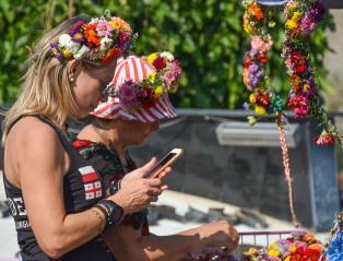 Flowers in their hair